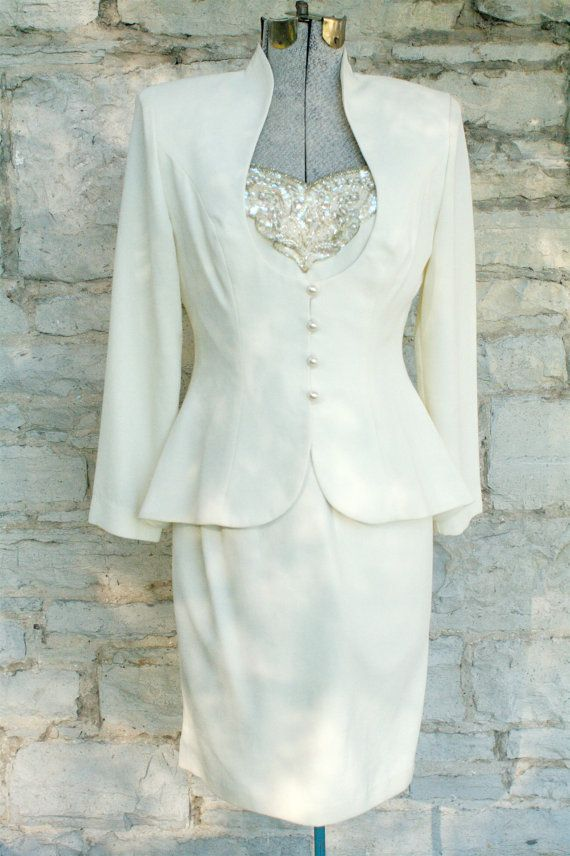 Mother Of The Groom Dress Vintage Cream Formal Dress With Jacket