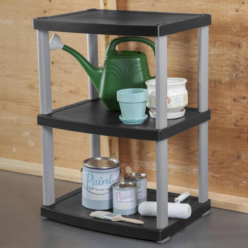 3 Tier Shelf Unit Black Plastic Indoor Outdoor Shelving Organizer