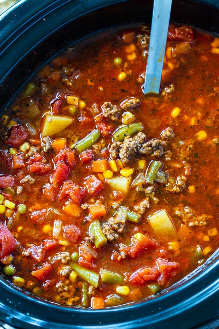 Crock Pot Spicy Vegetable Beef Soup Spicy Southern Kitchen Recipe In 2020 Vegetable Soup Crock Pot Soup With Ground Beef Spicy Vegetable Soup