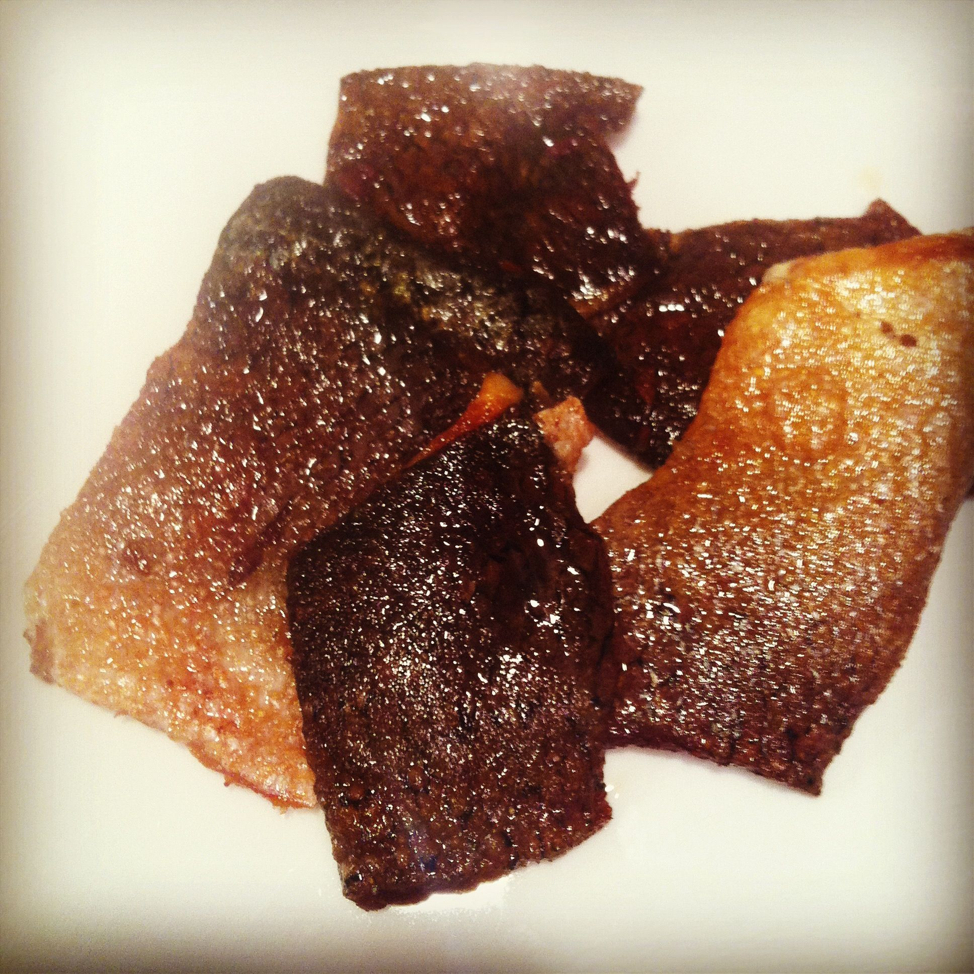 """Crispy Verlasso Salmon Skin! I used the skin I removed while making the salmon tartare and made these """"chips"""""""