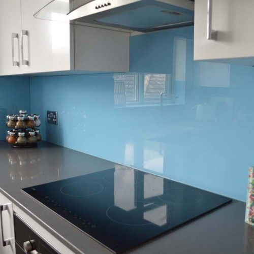 Two Tone Design Glass Kitchen Splashback Beach Color Schemes