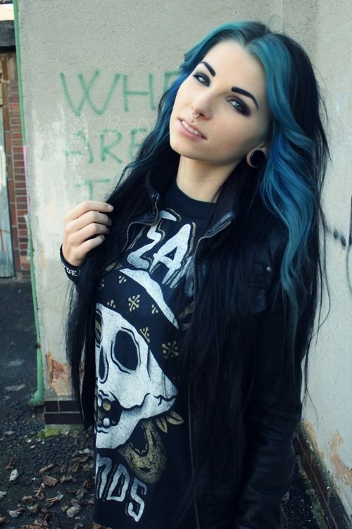 Blue And Black Hair I Love This One Too Blue Hair