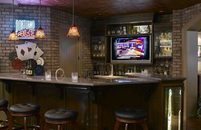 Nice Basement Bar! Love The Brick Walls! #basementbar #finishedbasements  Homechanneltv.com