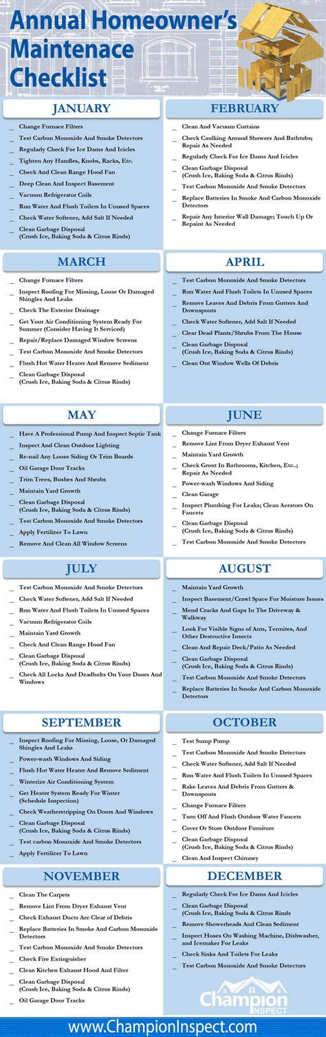 2nd Quarter Of The Annual Homeowners Maintenance Checklist Home