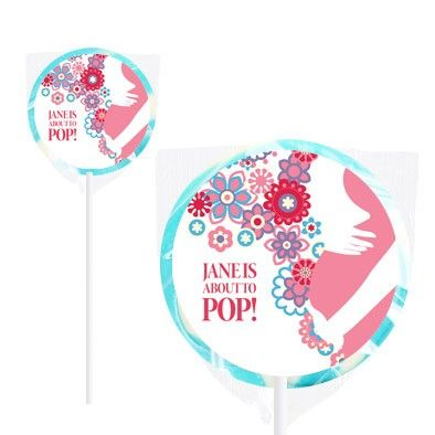 About To Pop Blue Baby Shower Personalised Lollipop