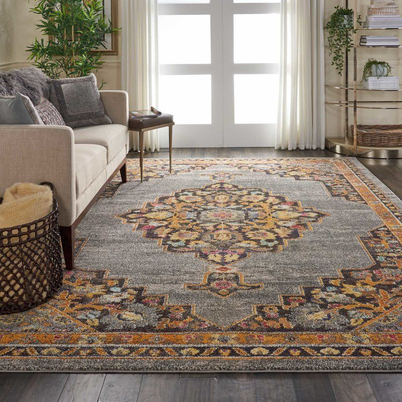 Lundy Traditional Medallion Gray Orange Area Rug Area Rugs Grey Area Rug Rugs