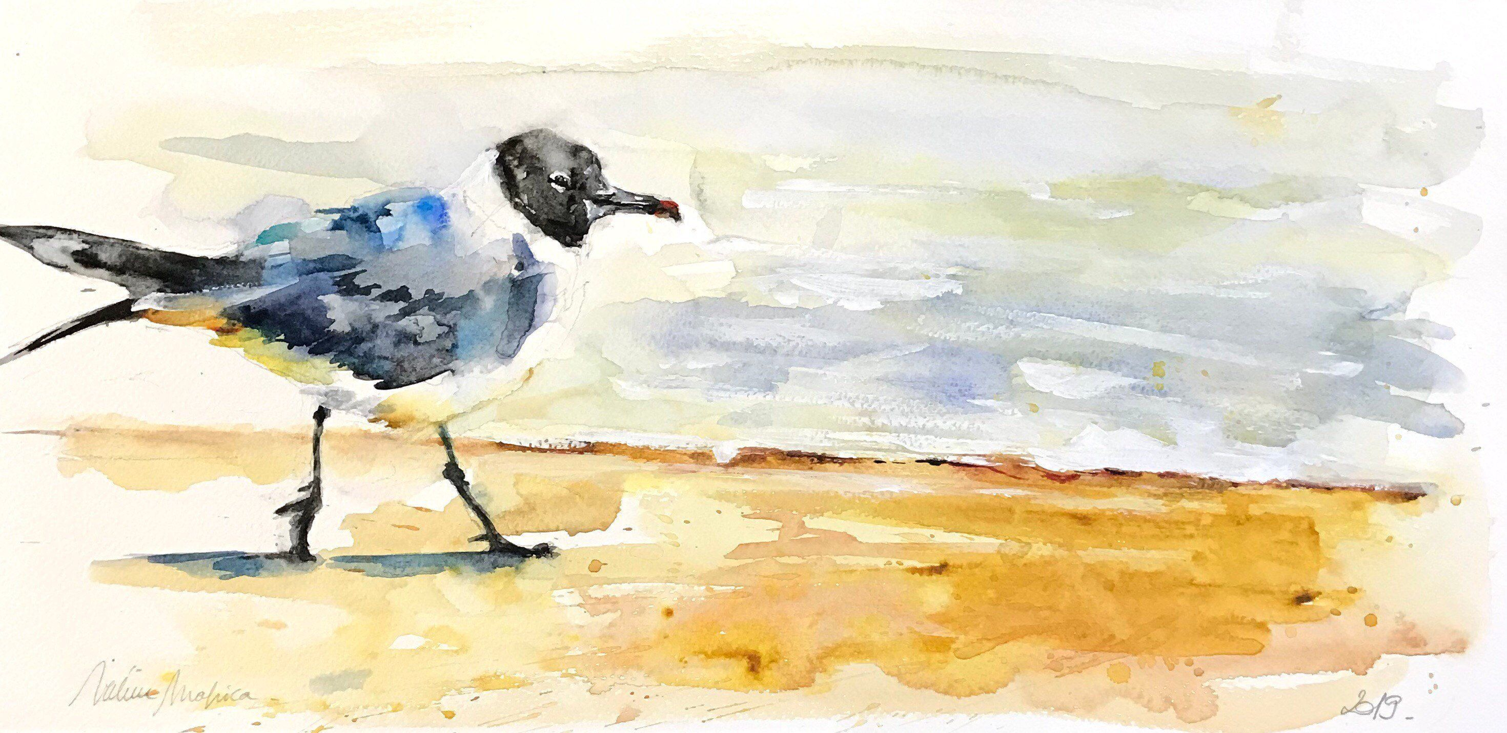 Aquarelle Peinture Originale La Mouette Watercolor Painting