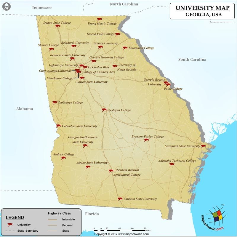 Map of Georgia Universities and Colleges - Map showing location of ...