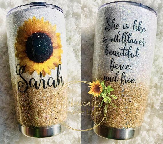 Sunflower cup Acrylic Sunflower Tumbler Sunflower Tumbler