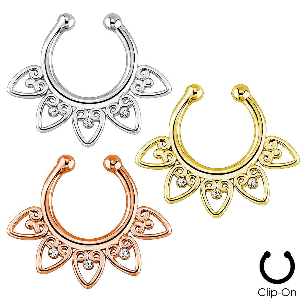 Nose accessories without piercing  Fake NonPiercing Tribal Fan Gems Septum Nose ClipOn Hanger Rings