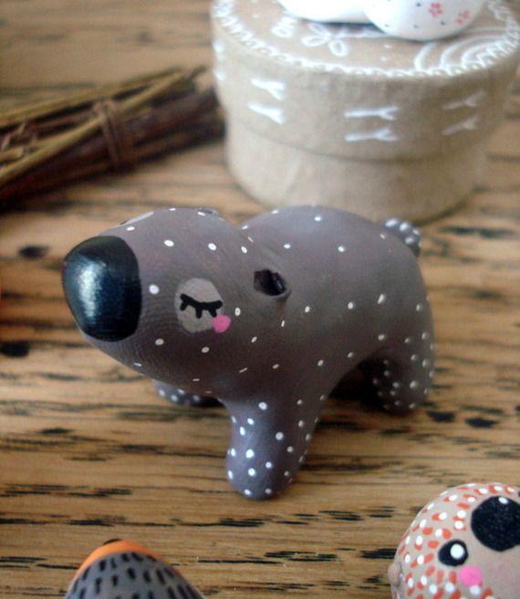 """Totem de poche """"Mon Ours"""" oMamaWolf figurine en céramique"""