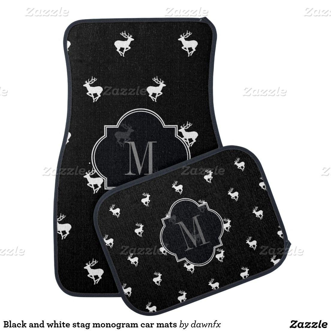 Black and white stag monogram car mats