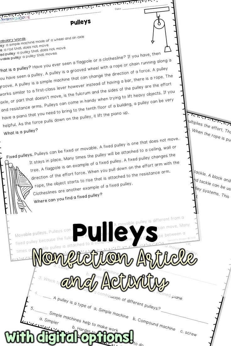 Simple Machines Pulley Nonfiction Article and Hands on Activity