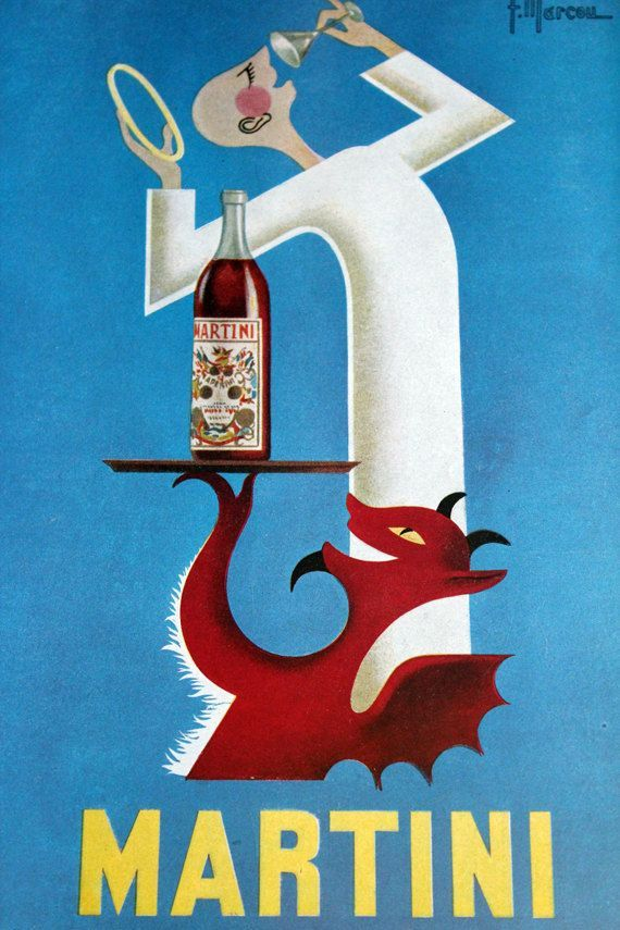 Vintage Advertising Poster For Martini Vermouth 1953 Illustrated