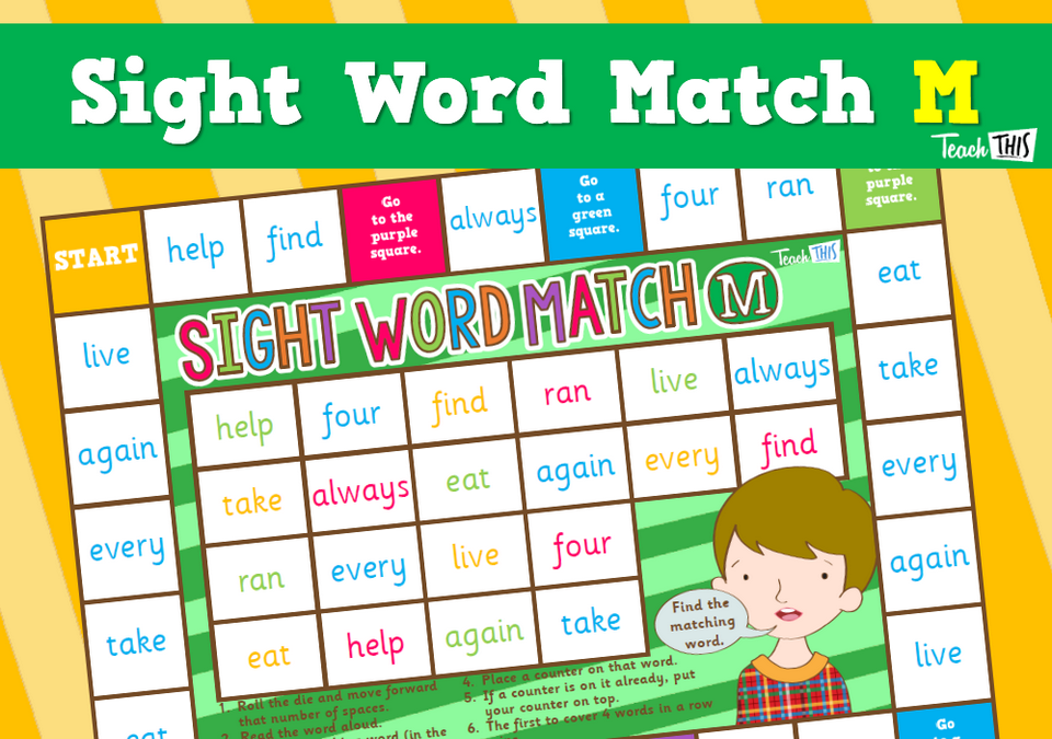 Sight Word Match M Sight words, Phonics words, Words
