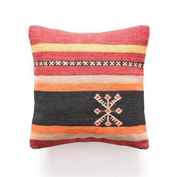 Pillow handmade turkish pillow 14x14 decorative pillow asian pillow ...