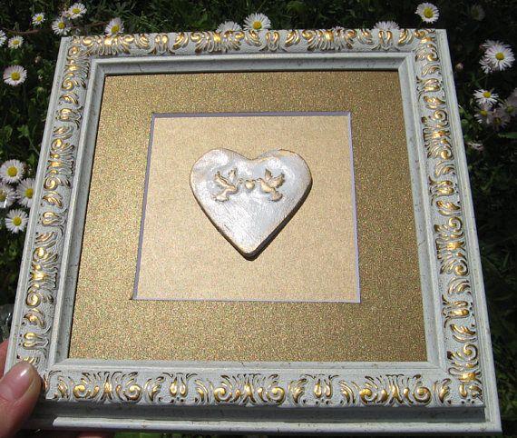 Gold Bedroom Heart Wall Original Decor Heart Wall Heart Wall Decor Silver Wall Decor