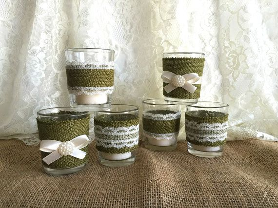 Moss Green Burlap And Lace Covered Votive Tea Candles, Country