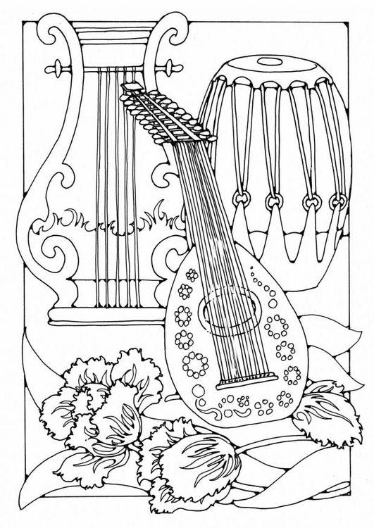 Kleurplaat muziekinstrumenten Coloring page Musical instruments ...