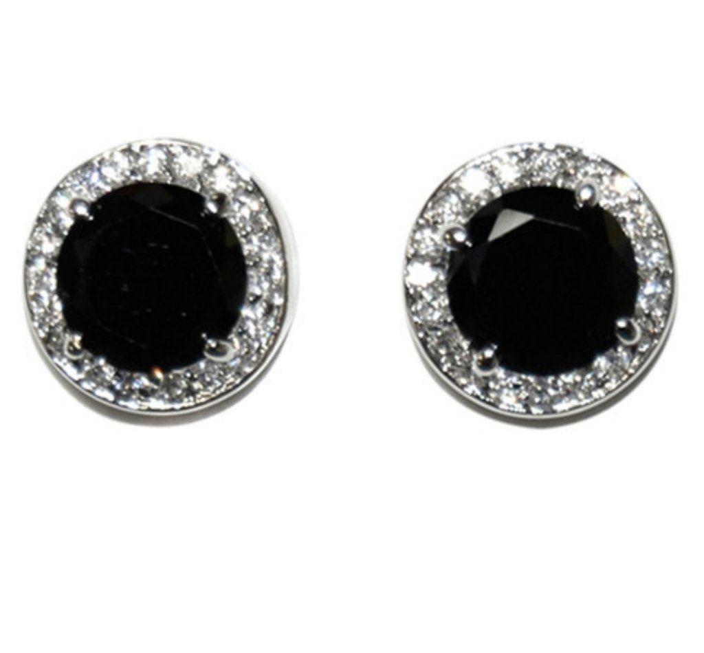 365db9004 Matia Black Onyx Round Stud Earrings – 15mm | 5.5ct | Cubic Zirconia |  Silver