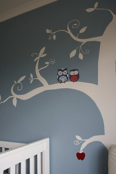 Blue White Red Owl Nursery Sweet Child Of Mine Pinterest