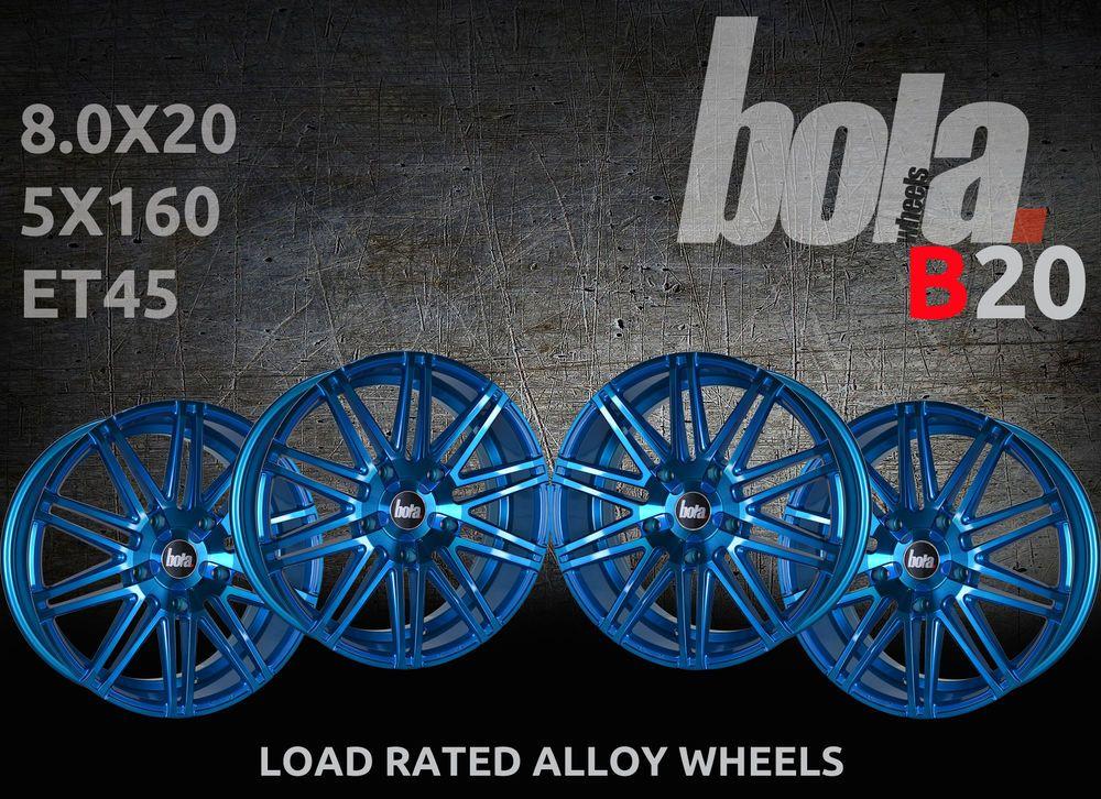 20 Inch Bola B20 Blue 5 Stud 8 0j Set Of 4 New Alloy Wheels Fit