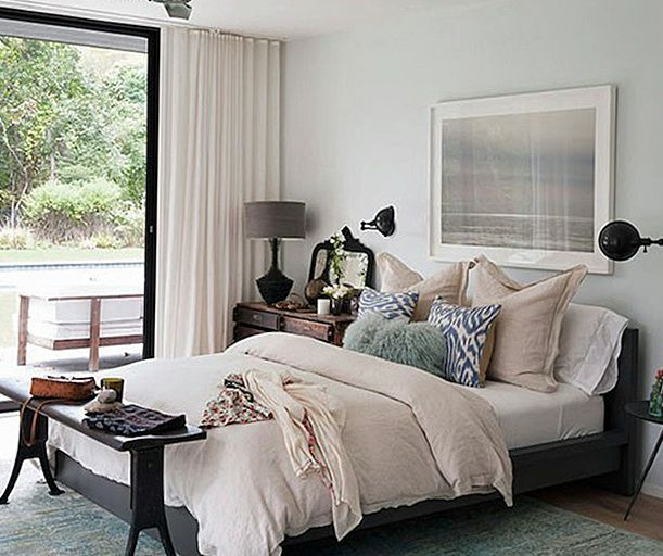 The Modern Hamptons: Peaceful And Serene Hamptons Bedroom With Industrial Lamps