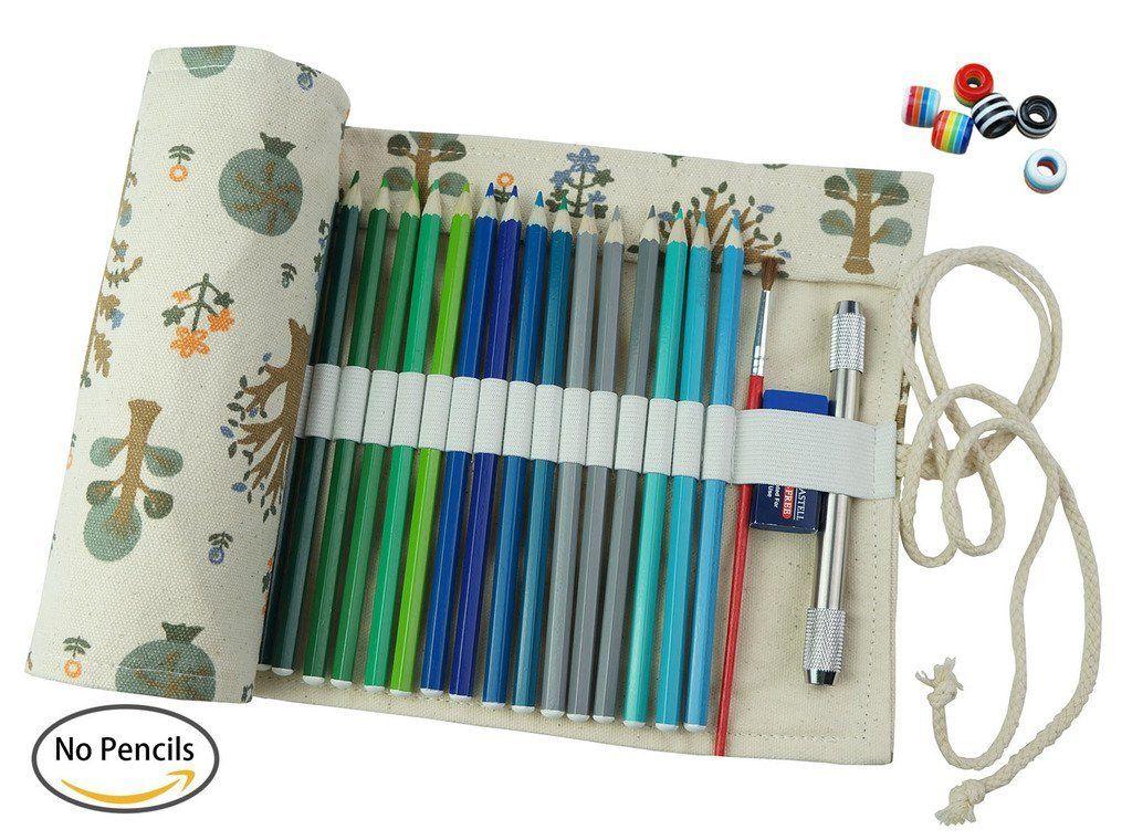 Amazon Com Creoogo Canvas Pencil Wrap Pencils Roll Pouch