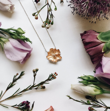 FLOWER SHOW POPPY NECKLACE ROSE GOLD & SILVER <3