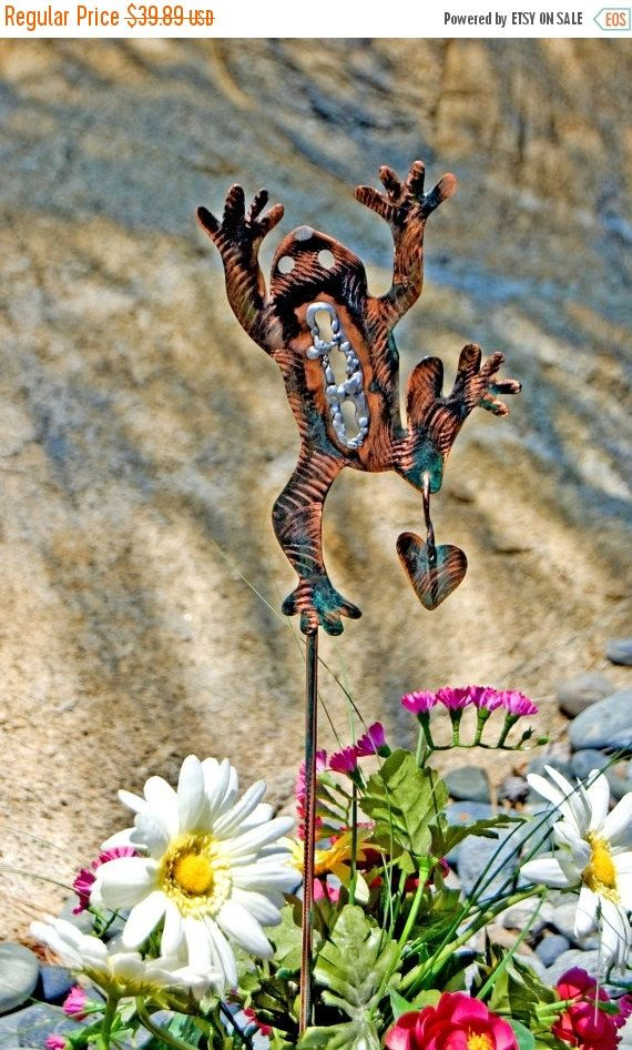 Frog Outdoor Metal Garden Art Stake / Yard Art By GardenCopperArt