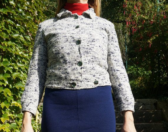 vintage 50s 60s cropped jacket flecked white by dieyoungstaypretty