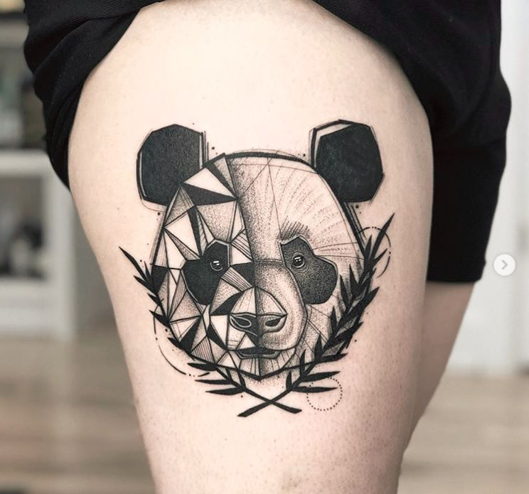 Small Acid Tattoo: Panda Geometric Tattoo