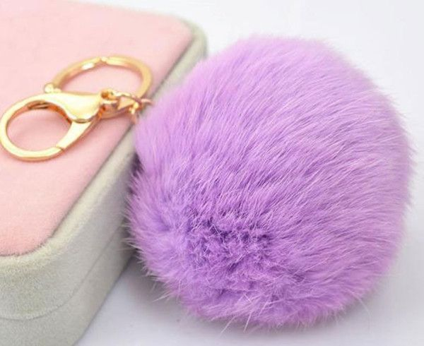 3dda1e6be27c 8CM Cute violet mint green pink Genuine Leather Rabbit fur ball keychain  Car key ring Bag Pendant fur pom pom keychain