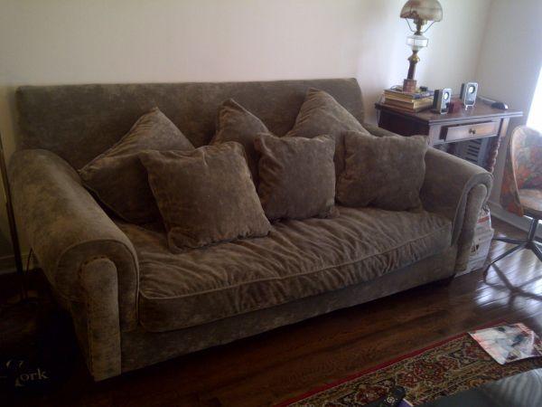 Huge chanel style frasier sofa brown suede - Brown suede living room furniture ...