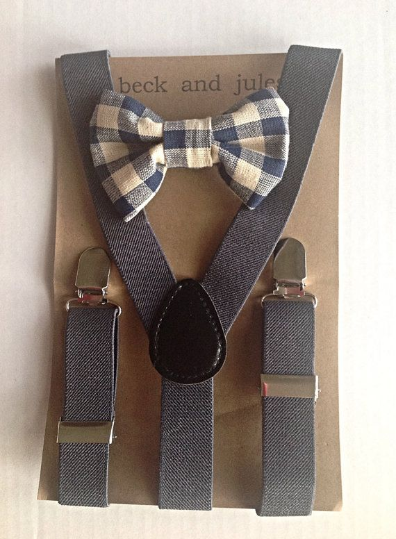 Little boys grey suspenders and matching bow tie set | Tie ...