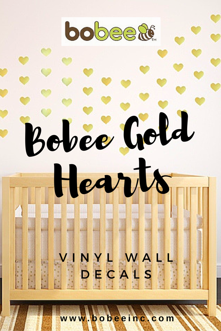 Bobee Gold Heart Vinyl Wall Decals ~ decorate boring white nursery ...