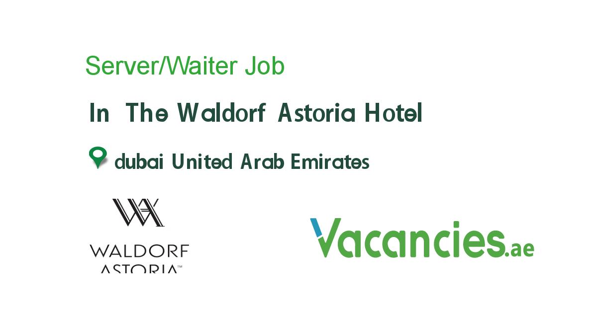 Server/Waiter Astoria hotel, Dubai hotel, Waiter