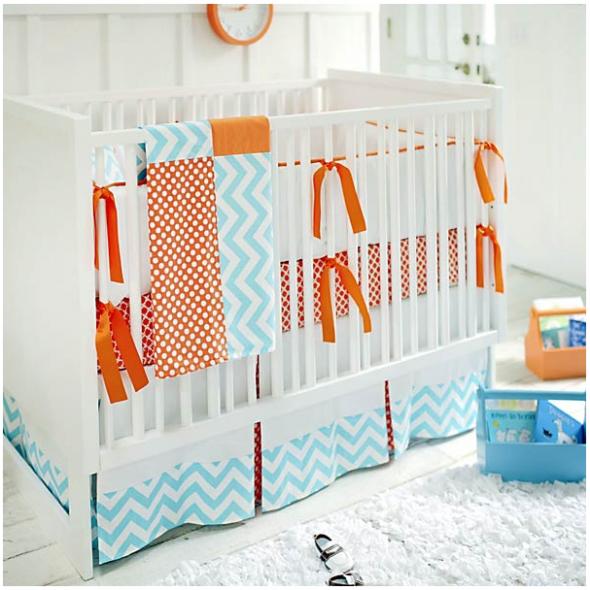 Chevron In Orange And Aqua Baby Room Luxury Baby Nursery Baby Crib Bedding Sets Baby Bedding Sets
