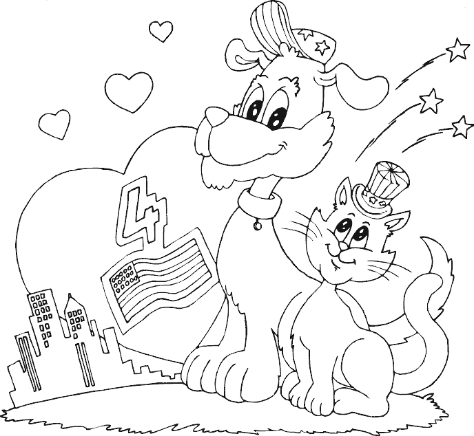 Dog And Cat Fourth Of July Coloring Page Cat Coloring Page Cool Coloring Pages Coloring Pages