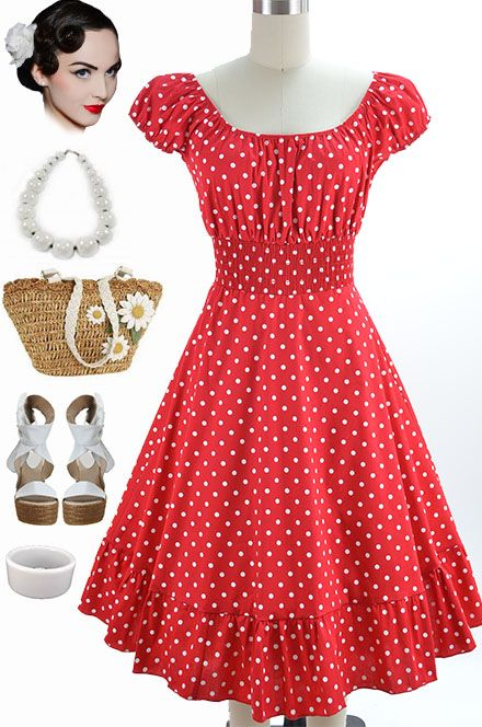 Details about 50s Style Red & White POLKA Dots PINUP Peasant Top ...