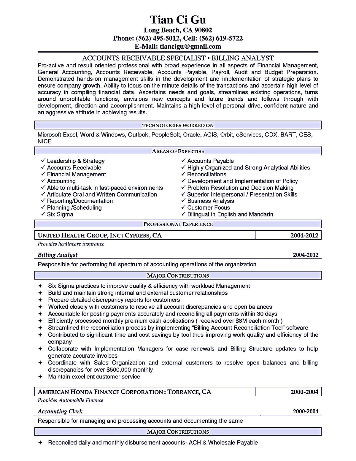 Accounts Receivable Resume Sample Account Receivable Resume Shows Both Technical And