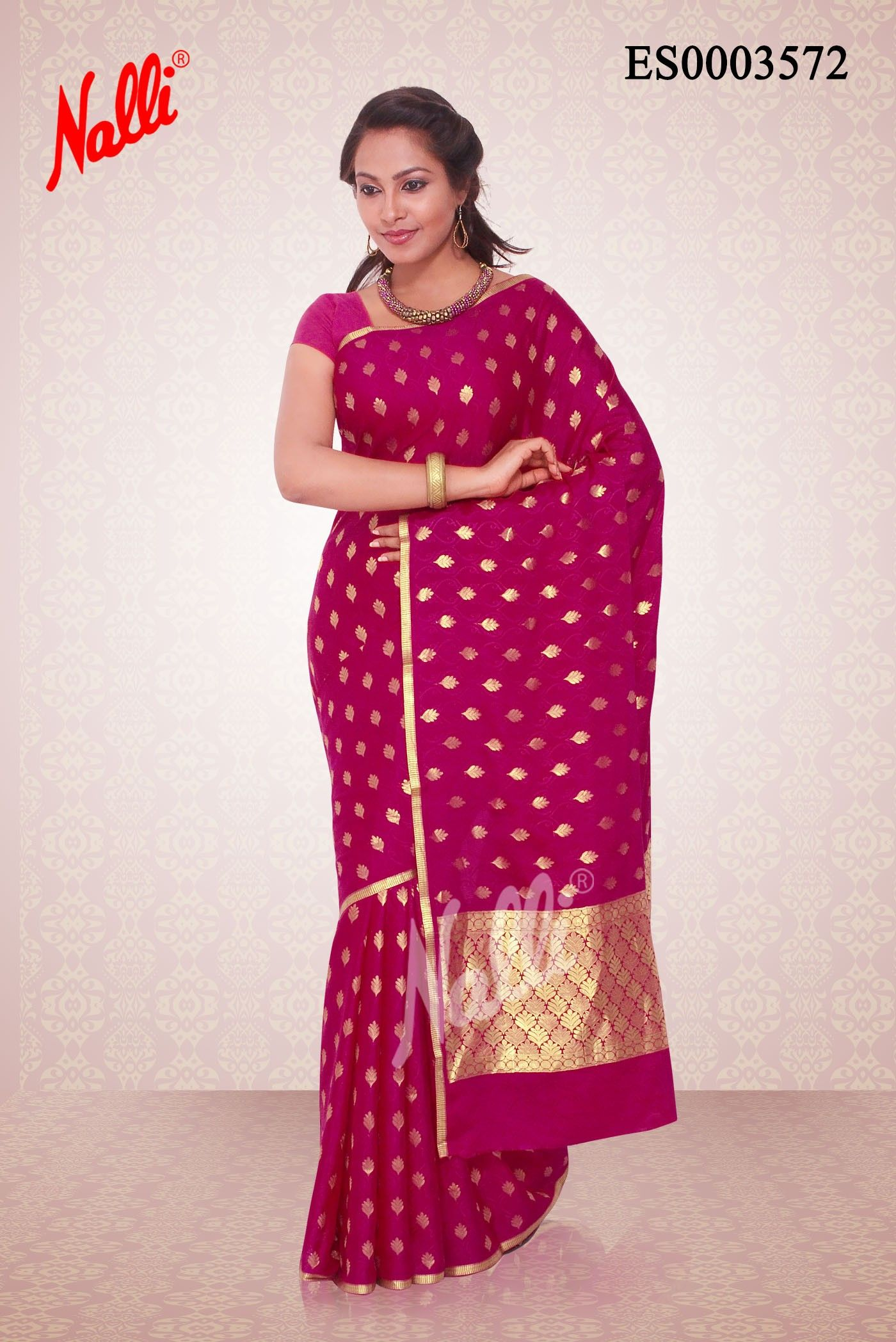 185d9a7bc6c9c Magenta Mysore Silk Saree with Zari butta on body and Piping border.  Includes Unstitched Blouse