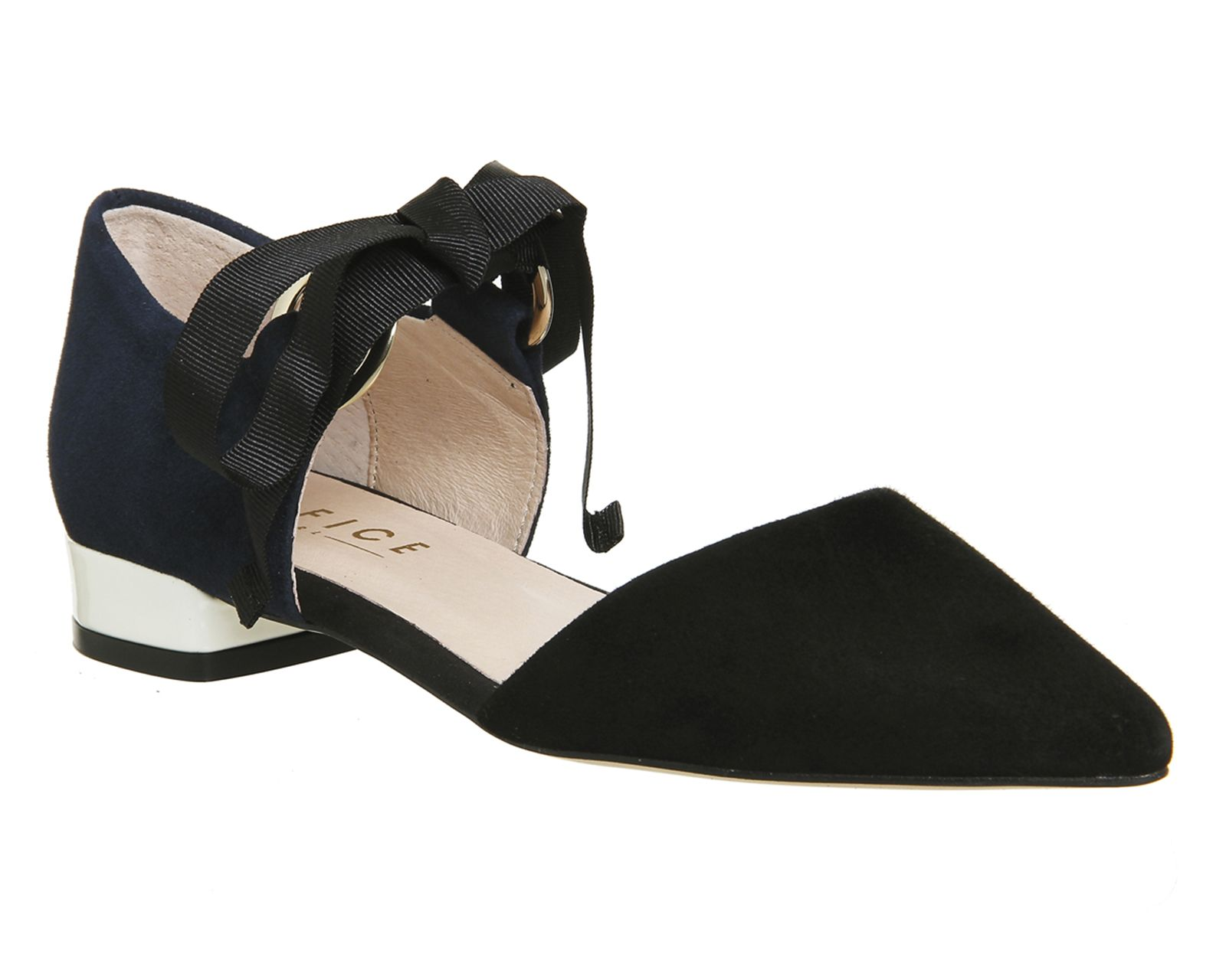 0529bdfc20e7 Office Dusty Two Part Point Pumps Black Suede Navy Suede - Flats ...