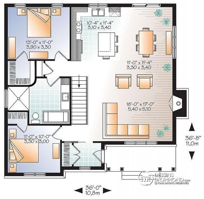 Plan de Rez-de-chaussée Plain-pied transitionnel avec 2 chambres - plan maison  plain pied