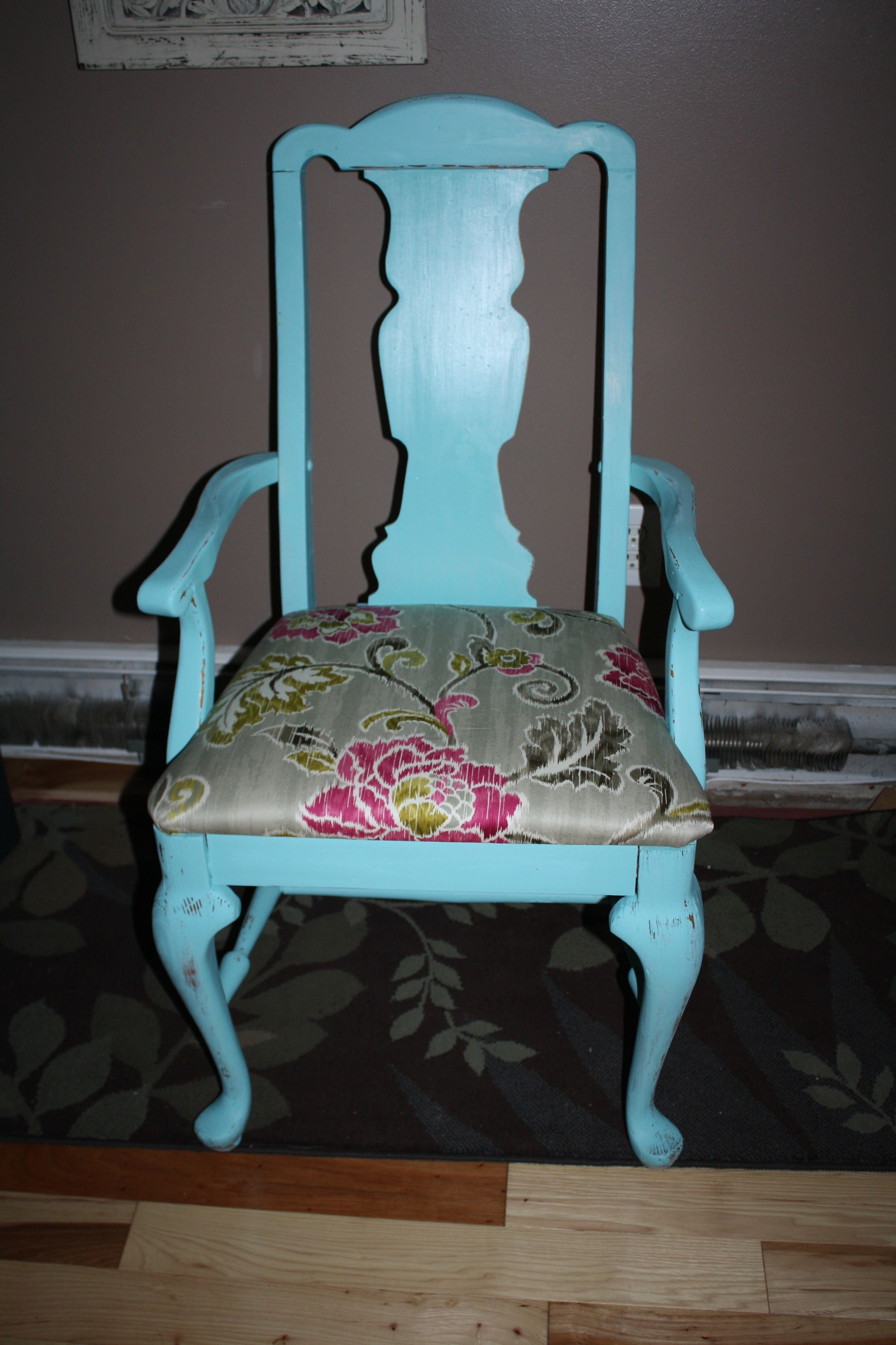 Teal Shabby Chic Chair With Floral Fabric By Redeemed Furnishings  Http://www.