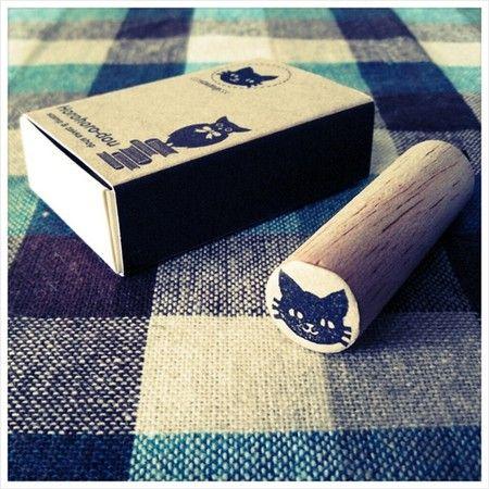 ホロホロ堂-stamp & zakka shop- ゴム版はんこ《黒にゃんこ》