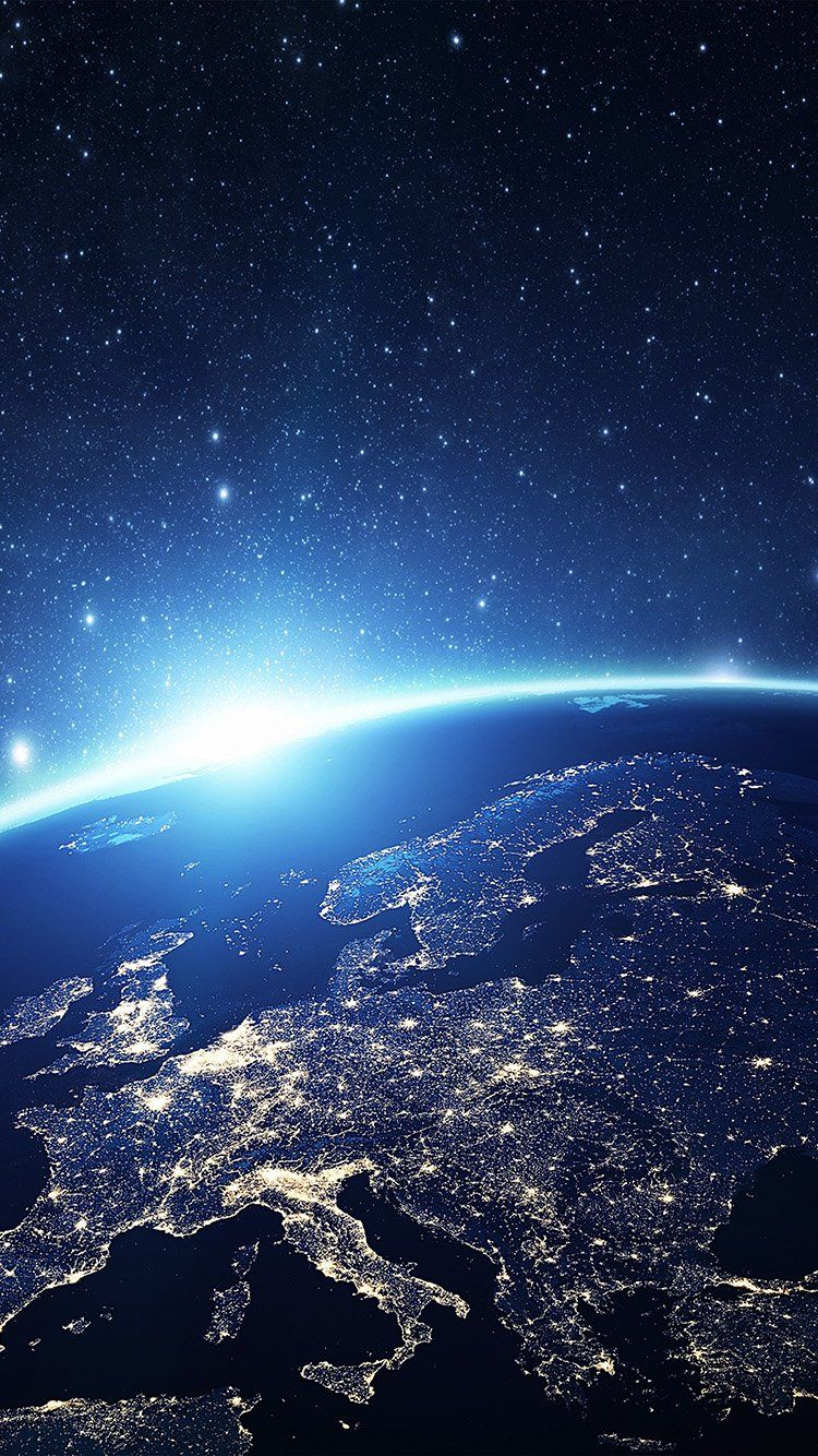 Europe Earth Blue Space Night Art Illustration Wallpaper Hd Iphone