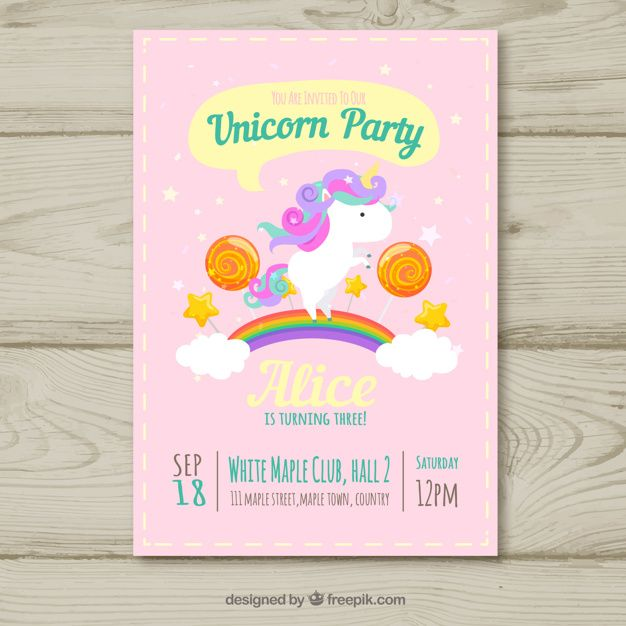 Unicorn Party Birthday Card Free Vector