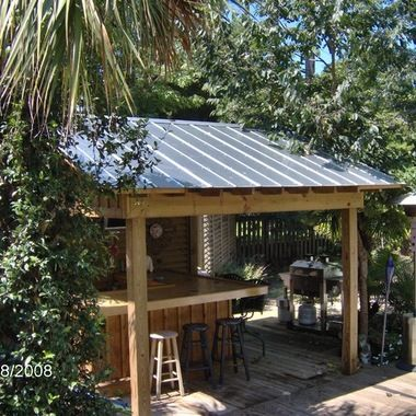 roof over grilling area 2 233 metal roof tropical home design photos rustic outdoor shed. Black Bedroom Furniture Sets. Home Design Ideas