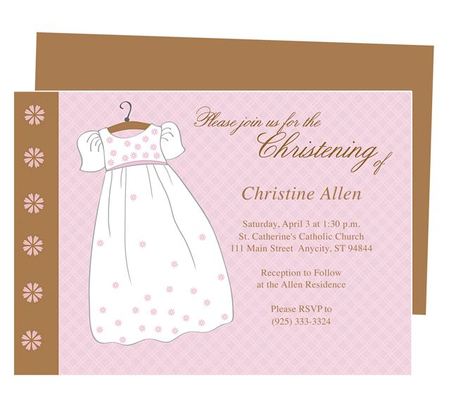 Baptism Outfit Dress Baby Baptism Invitation Templates Available - invite templates word